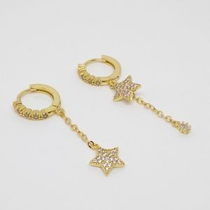 Gold Star CZ Hoop Dangle Earrings | S925